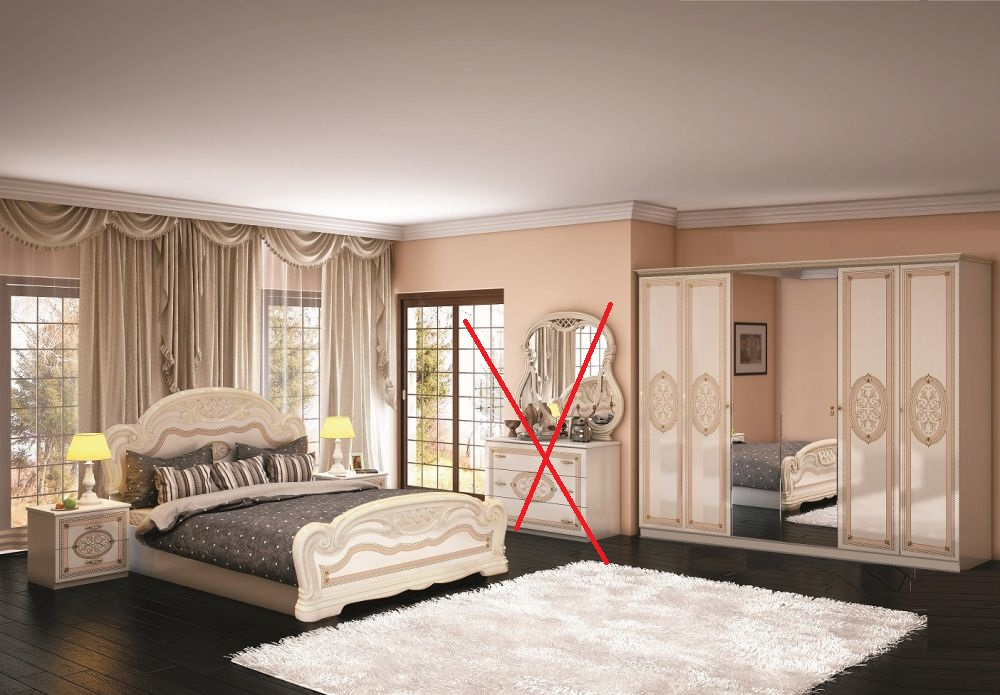 schlafzimmer lana beige klassischer stil bett 160x200 schrank 6 id set6. Black Bedroom Furniture Sets. Home Design Ideas