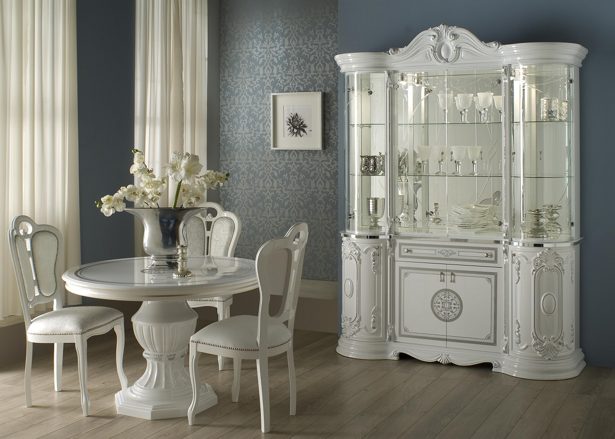 vitrine 4 trg great weiss silber italienisch klassisch. Black Bedroom Furniture Sets. Home Design Ideas