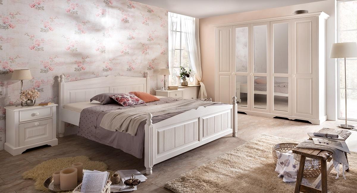Schlafzimmer Pina im Landhausstil in weiss Pinie teilmassiv gebü-25 ...