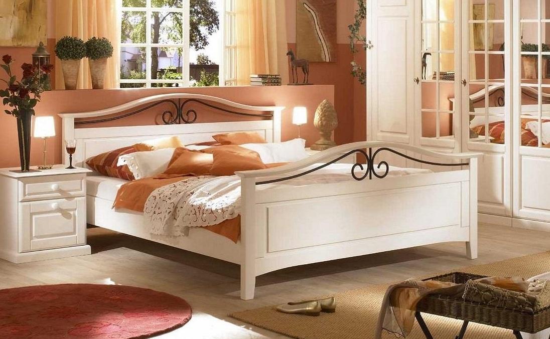 Bett 160 x 200cm Sandra im Landhausstil weiss Pinie teilmassiv 50