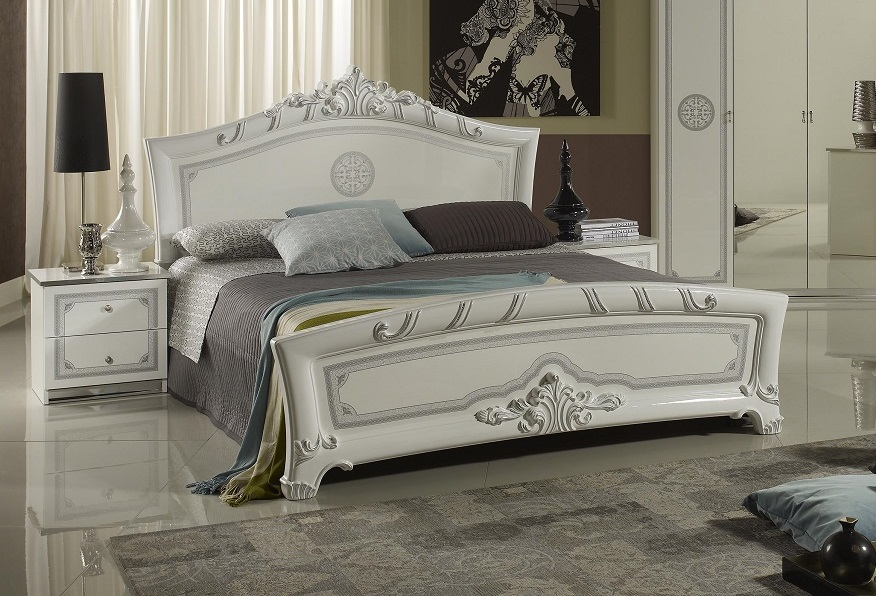 bett 160x200 cm great in weiss silber italienisch barock italia xp pfgrclt16. Black Bedroom Furniture Sets. Home Design Ideas