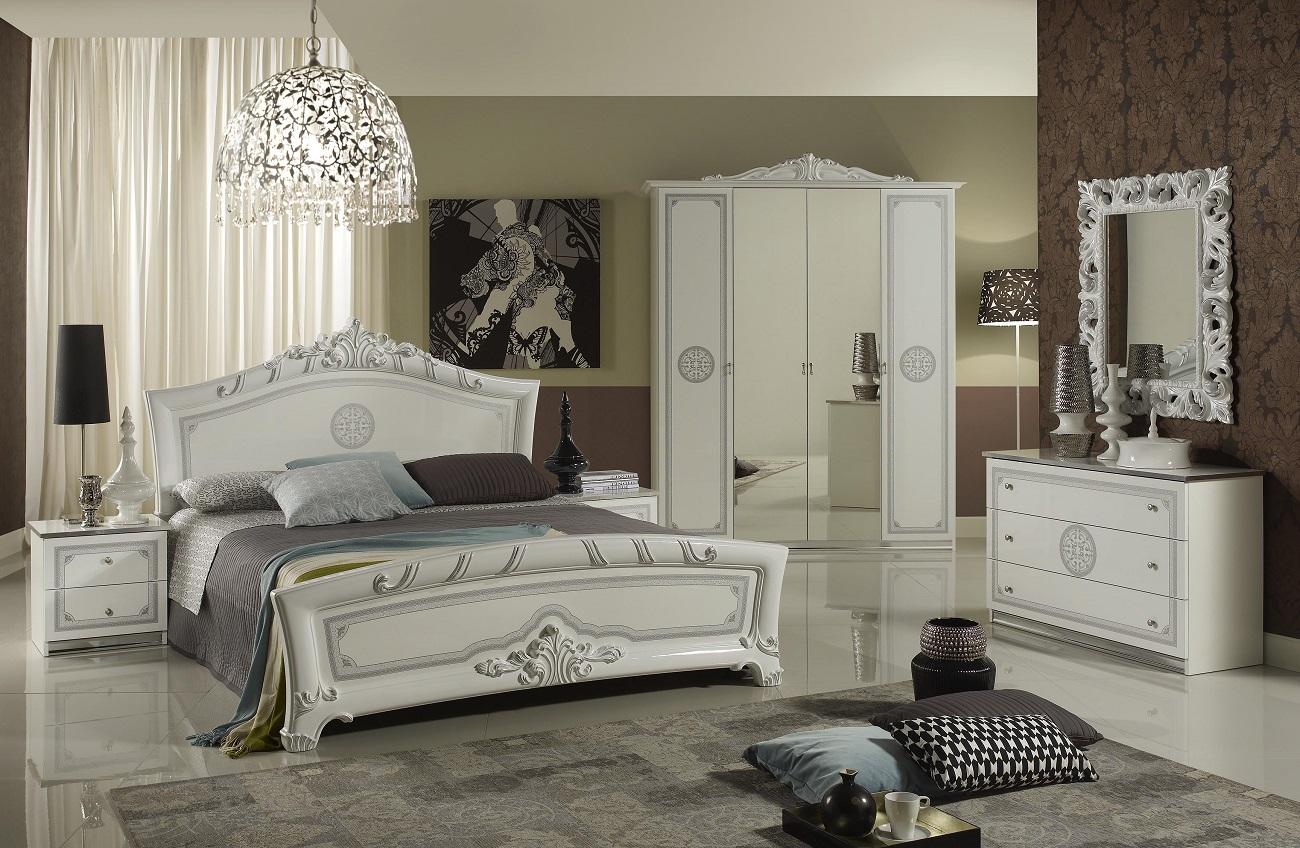 bett 160x200 cm great in weiss silber italienisch barock. Black Bedroom Furniture Sets. Home Design Ideas