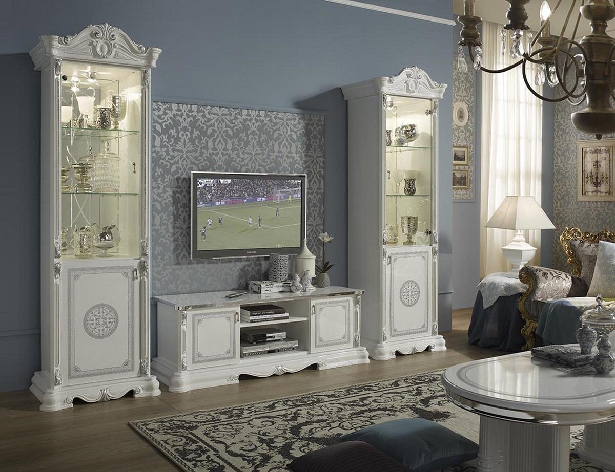 Uberlegen Schlafzimmer 180x200cm Great Weiss Silber Klassische Italienisch  Schlafzimmer 180x200cm Great Weiss Silber Klassische Italienisch ...