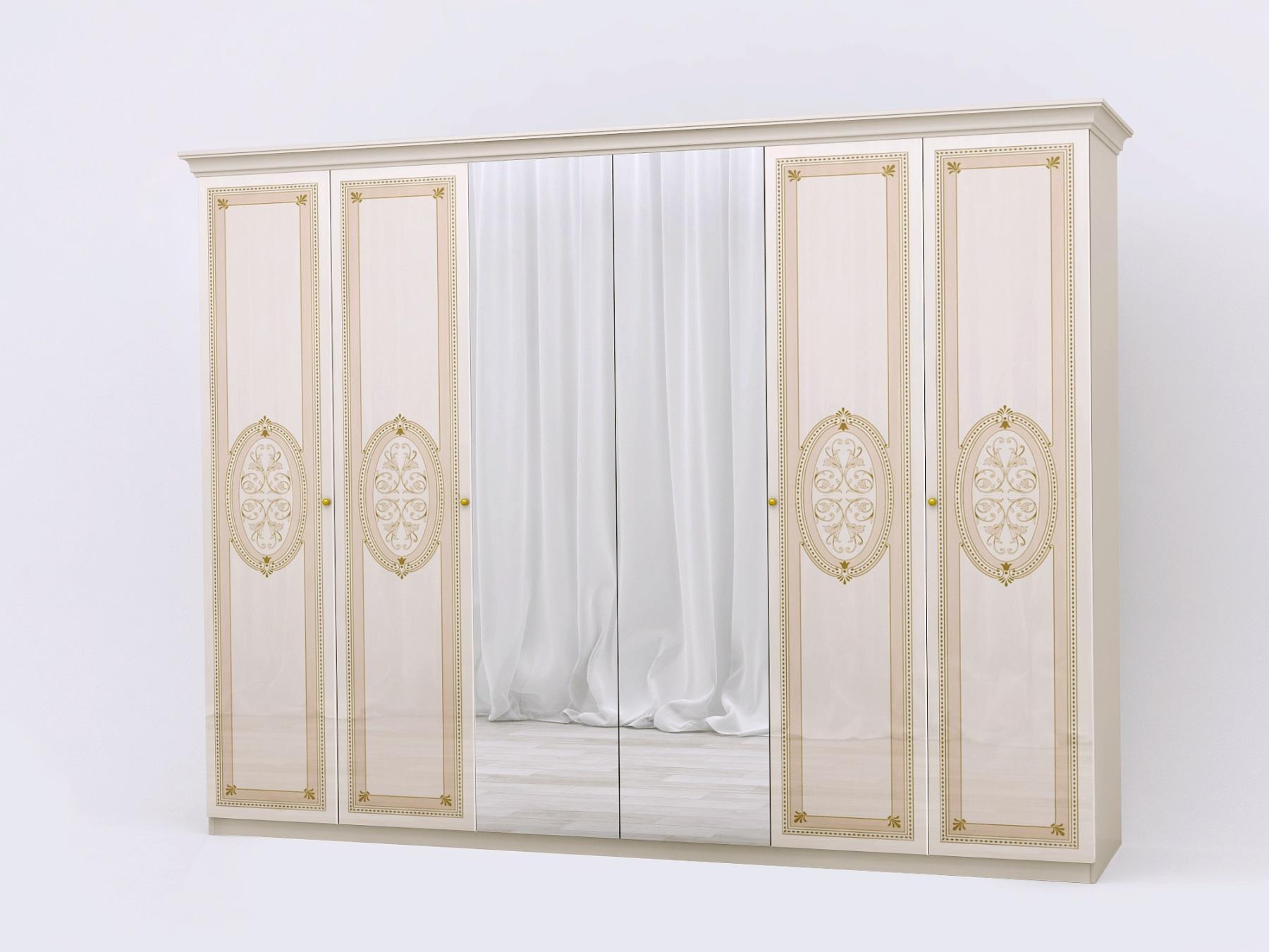 Kleiderschrank 6 trg Lana beige KlassiK Stil Barock Schrank-11-100-03