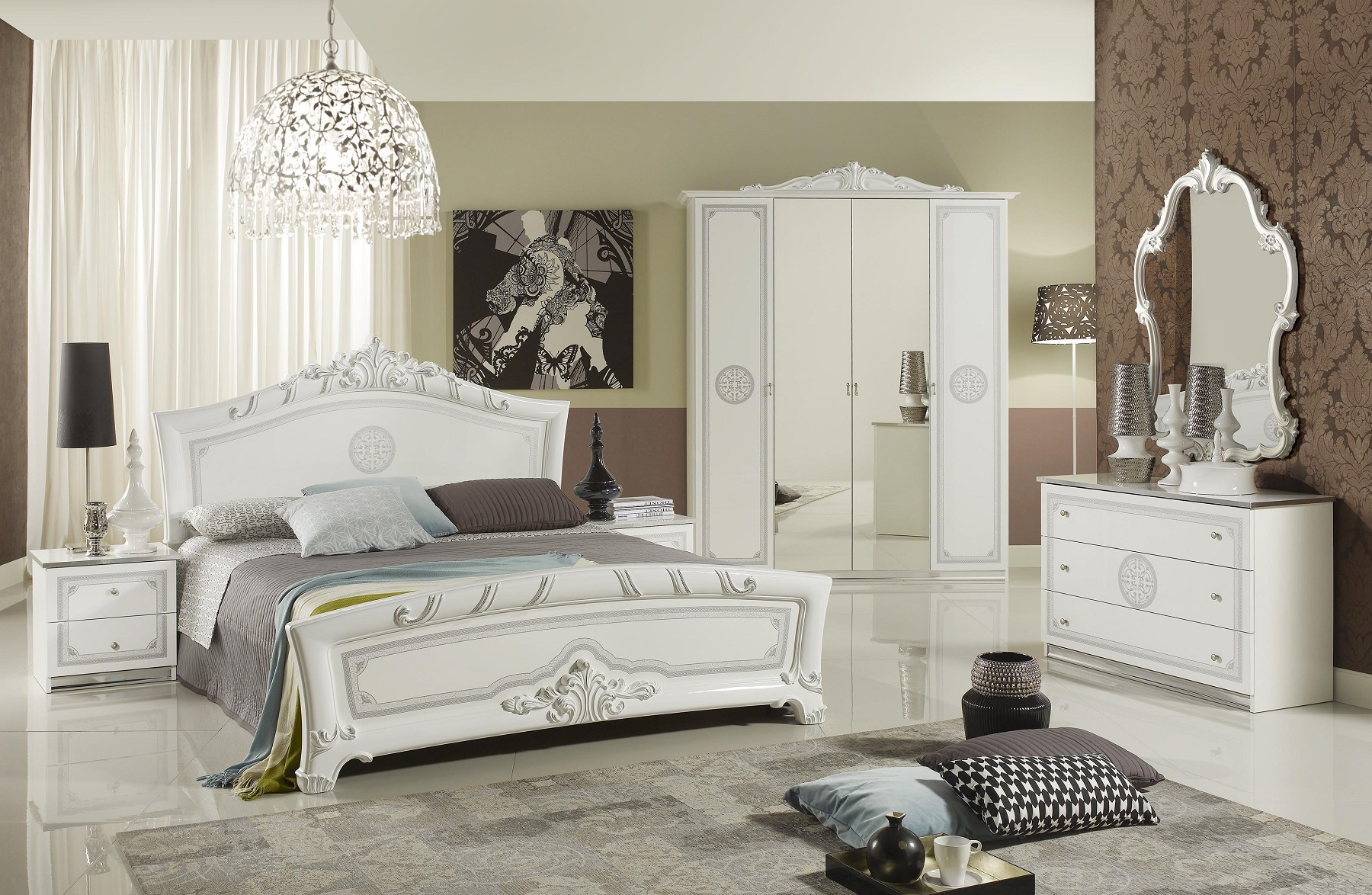 schlafzimmer great weiss silber klassische design. Black Bedroom Furniture Sets. Home Design Ideas