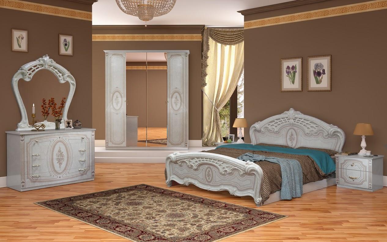 Schlafzimmer Florenz beige creme Bett 160x200 cm italienisch-ID-FLO ...