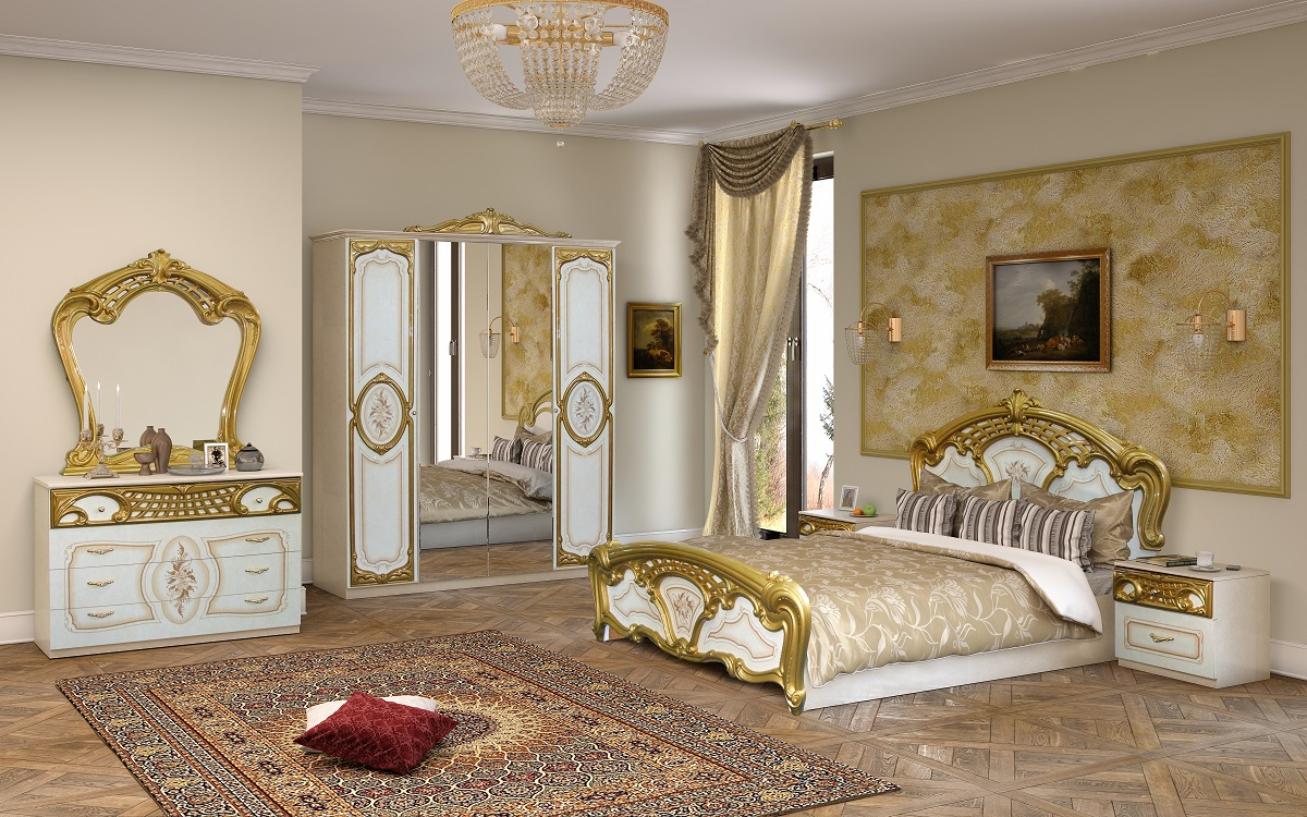 schlafzimmer rozza in wei gold klassisch 160x200 cm. Black Bedroom Furniture Sets. Home Design Ideas