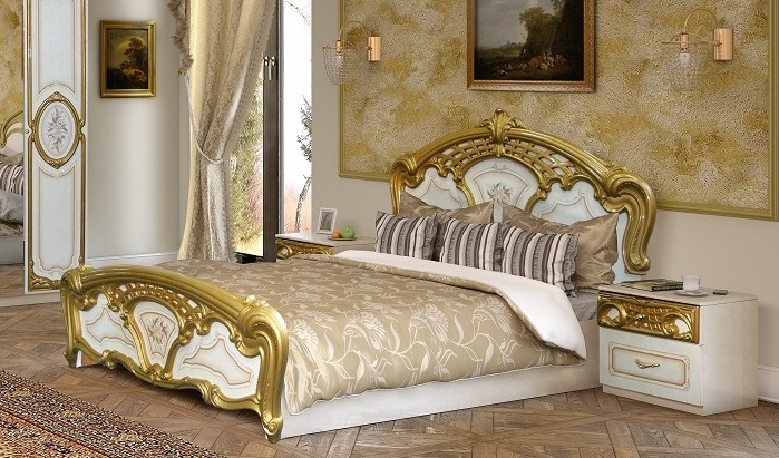 schlafzimmer rozza in wei gold klassisch 160x200 cm barock rozz set gold. Black Bedroom Furniture Sets. Home Design Ideas