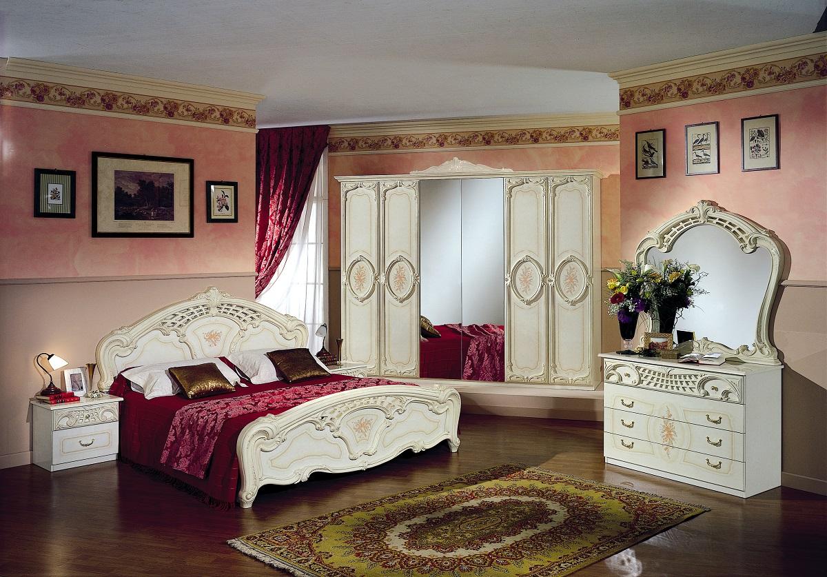 Schlafzimmer Rozza Beige Creme Bett 160 Italien Klassik Barock Rozz
