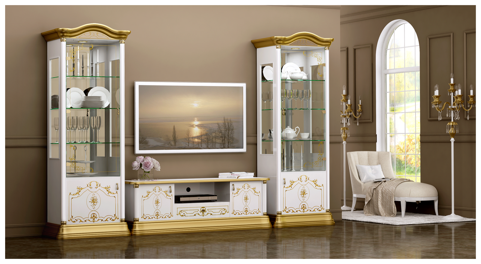 wohnwand rozza wei gold vitrinen tv schrank barock. Black Bedroom Furniture Sets. Home Design Ideas
