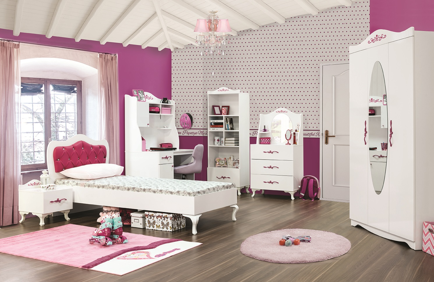 m dchenzimmer pia papatya komplettzimmer weiss pink prinzessin pia set. Black Bedroom Furniture Sets. Home Design Ideas