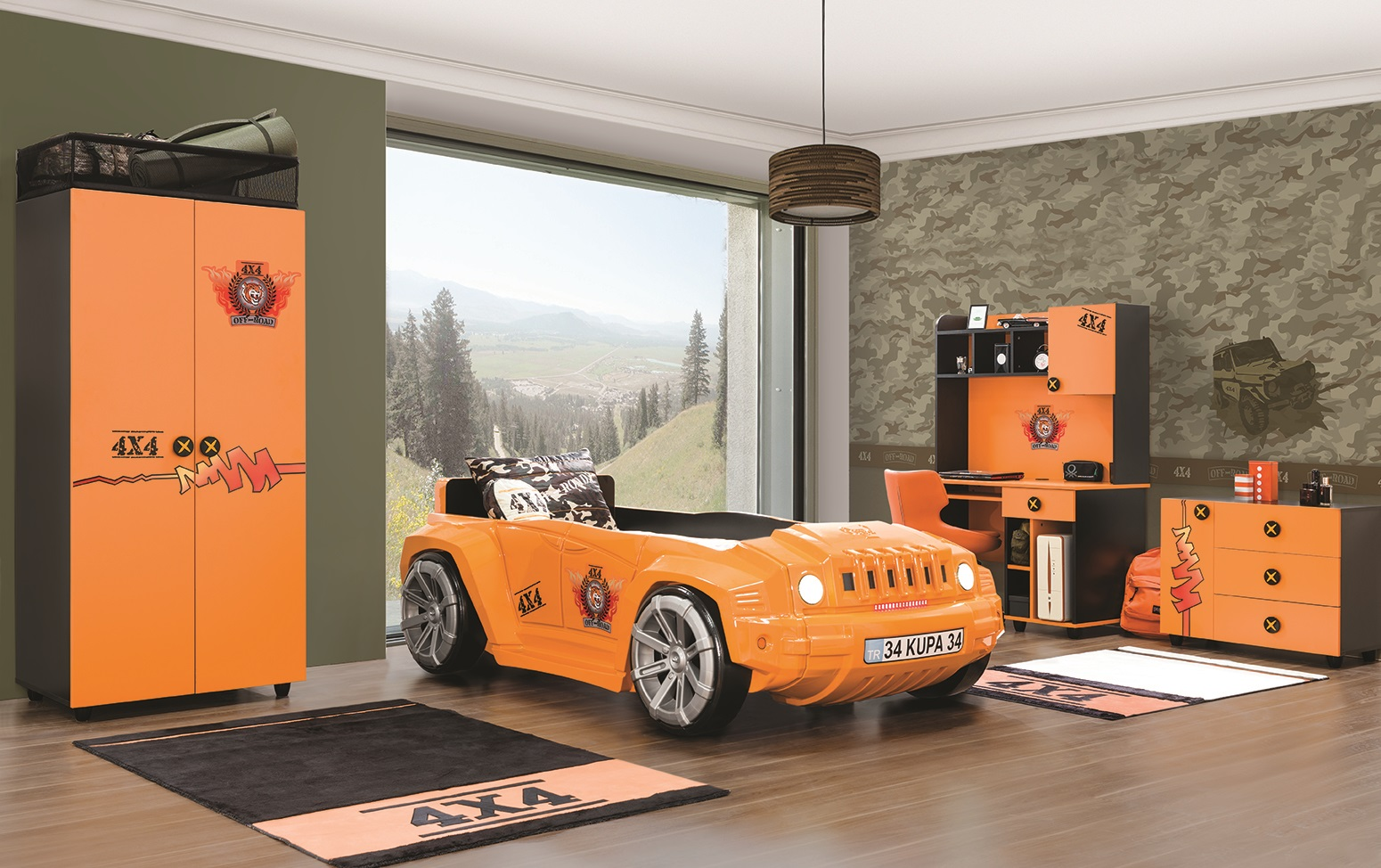 Kinderzimmer Offroad Hamer in orange schwarz Autobettzimmer-Ham-Set01