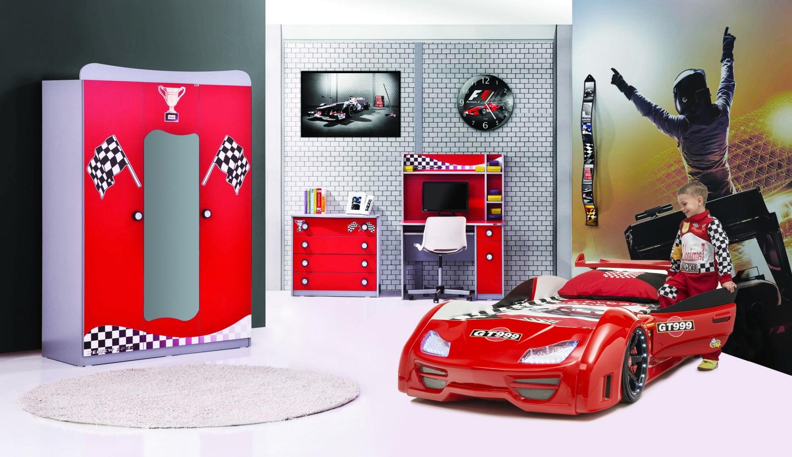 Autobettzimmer GT Racer Möbel in rot Kinderzimmer-GT-SetR