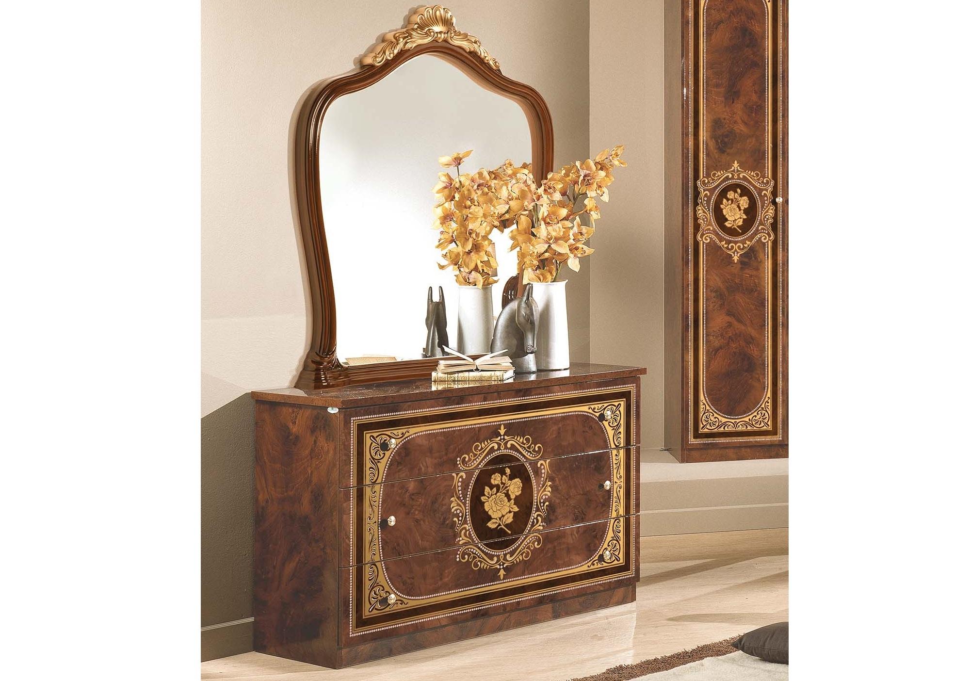 Kommode mit Spiegel Alice in Walnuss Gold Schlafzimmer ...
