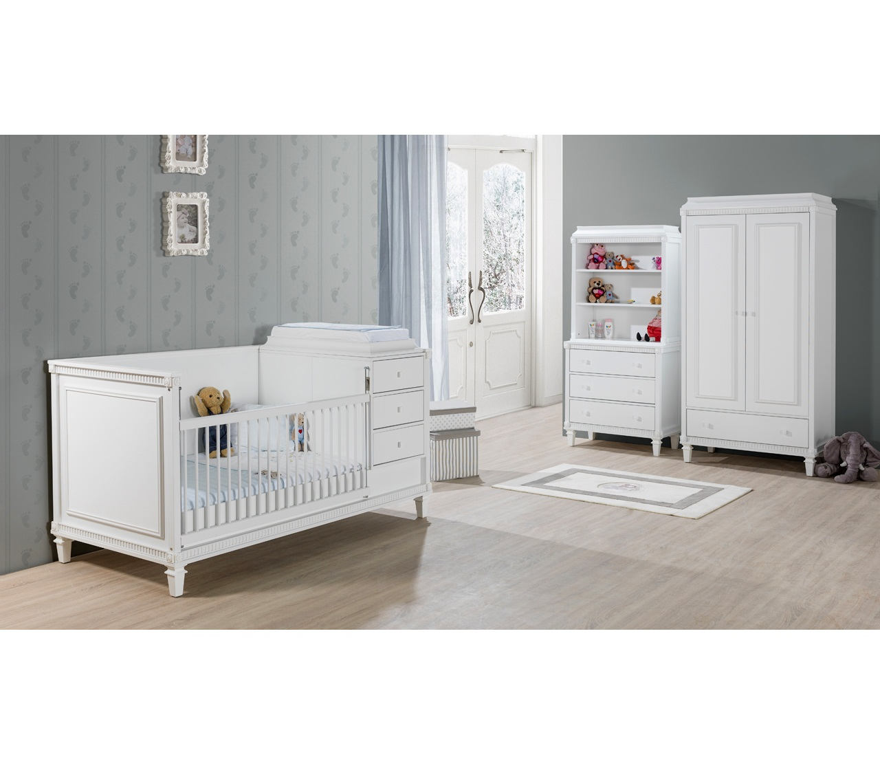 bett hazeran 90x200 cm landhausstil weiss kinderbett 78404. Black Bedroom Furniture Sets. Home Design Ideas