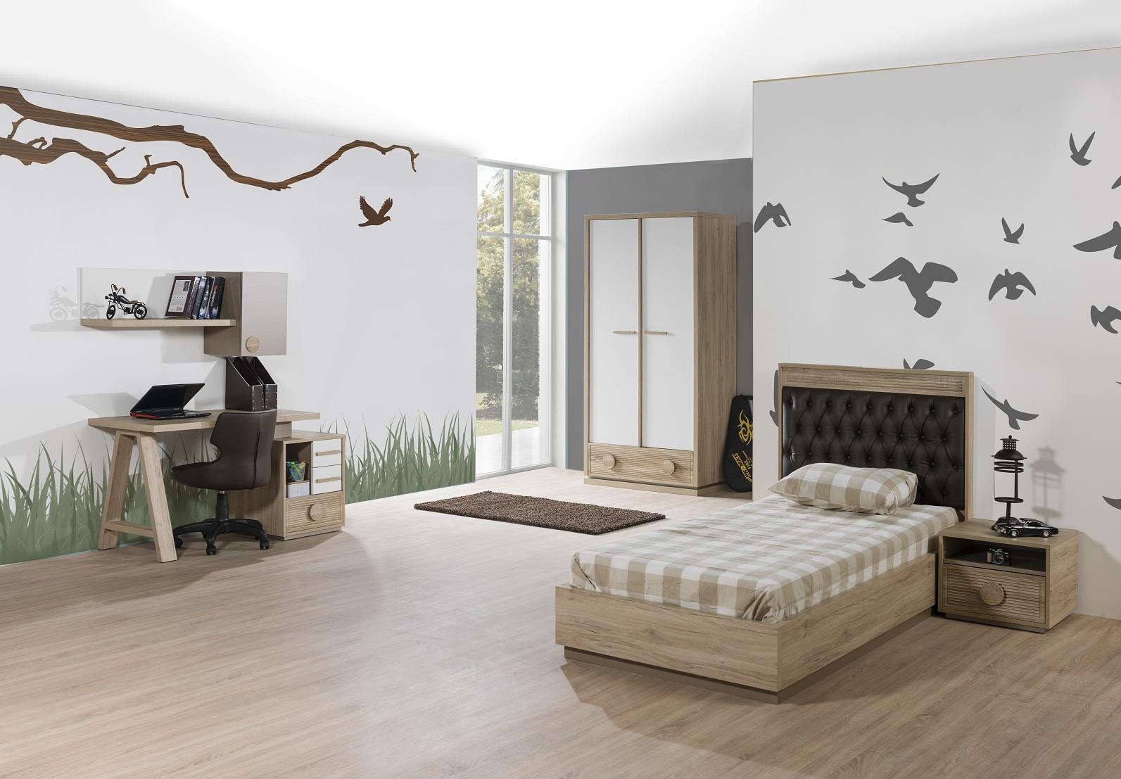 Kinderzimmer ALFA Bett 90x200 Cm Natur Braun Weiss Jugendzimmer 75004/2/8/14