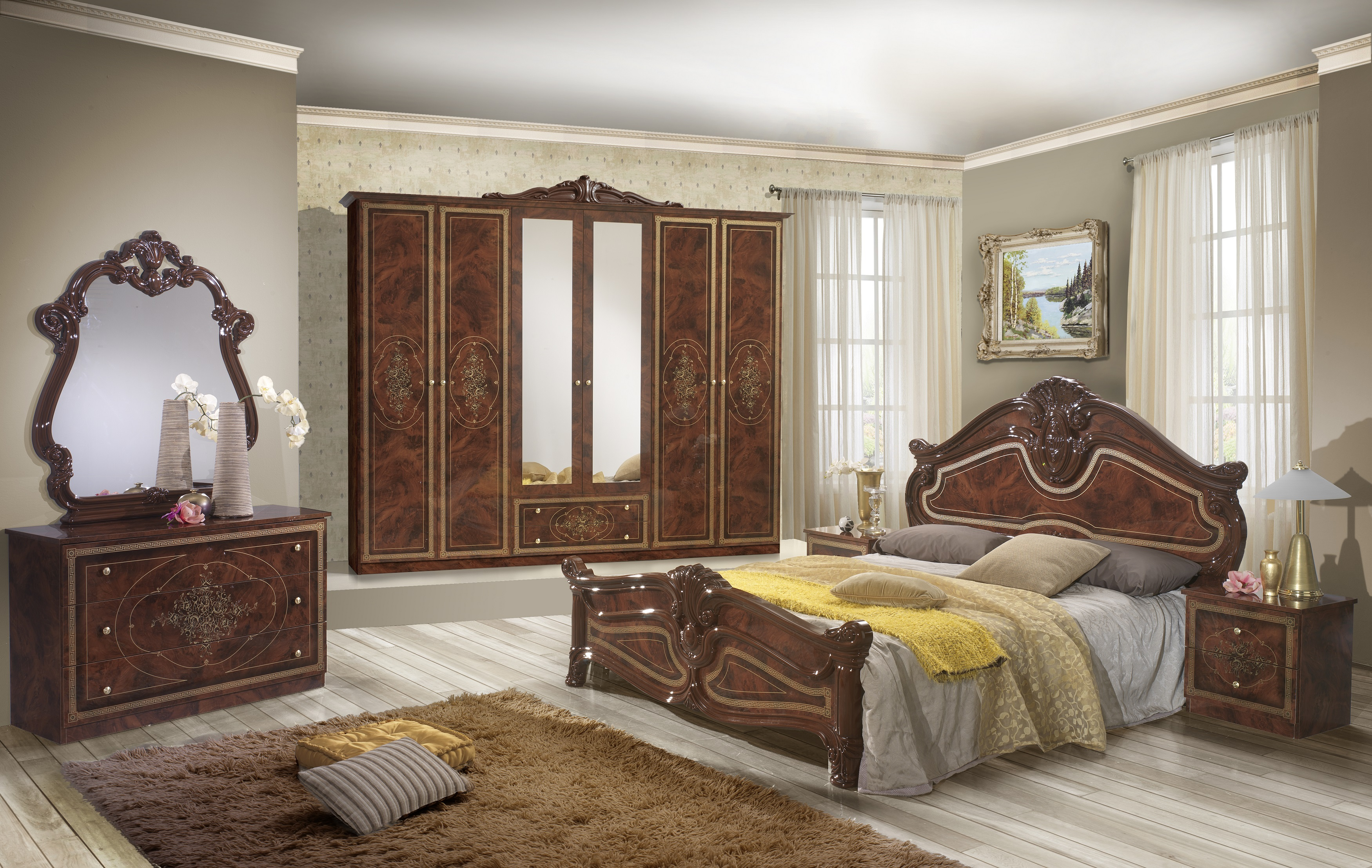 Schlafzimmer Amalia in Walnuss klassik italienisch-DH-AMF/ECO/RN