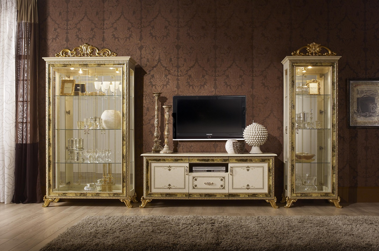vitrine 1trg karla beige gold italien luxus für wohnzimmer-sa-kat ... - Wohnzimmer Beige Gold
