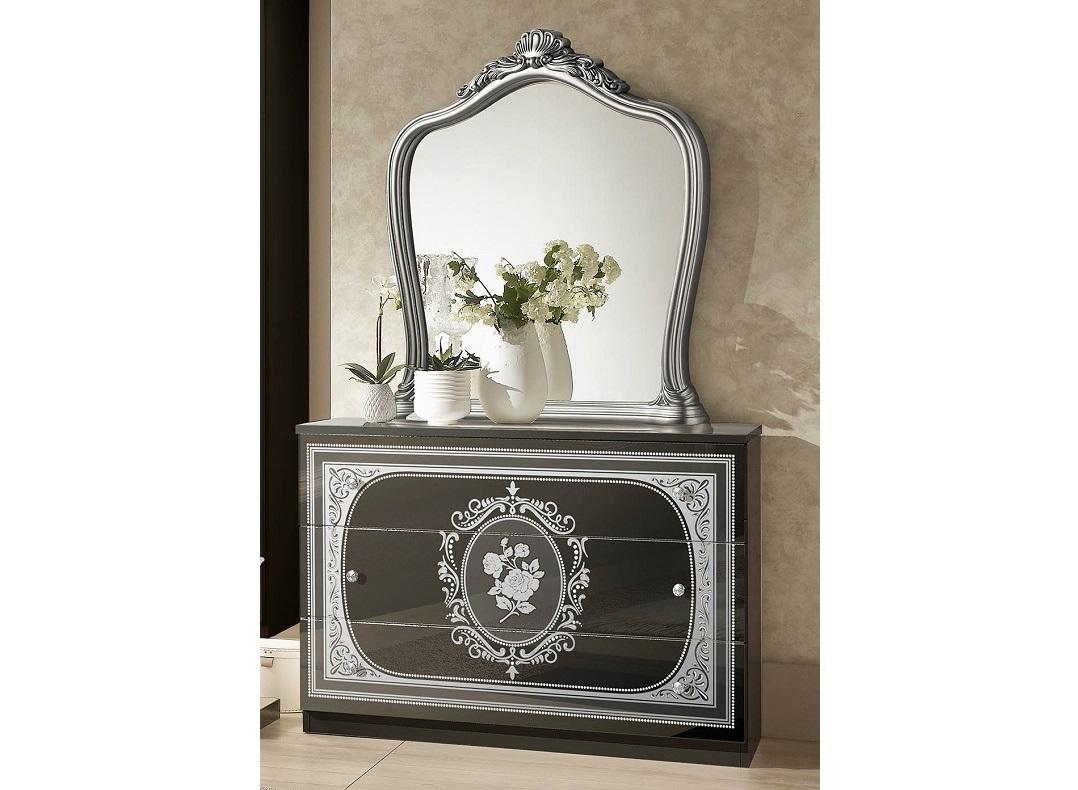 Kommode mit Spiegel Alice in Schwarz Silber Schlafzimmer