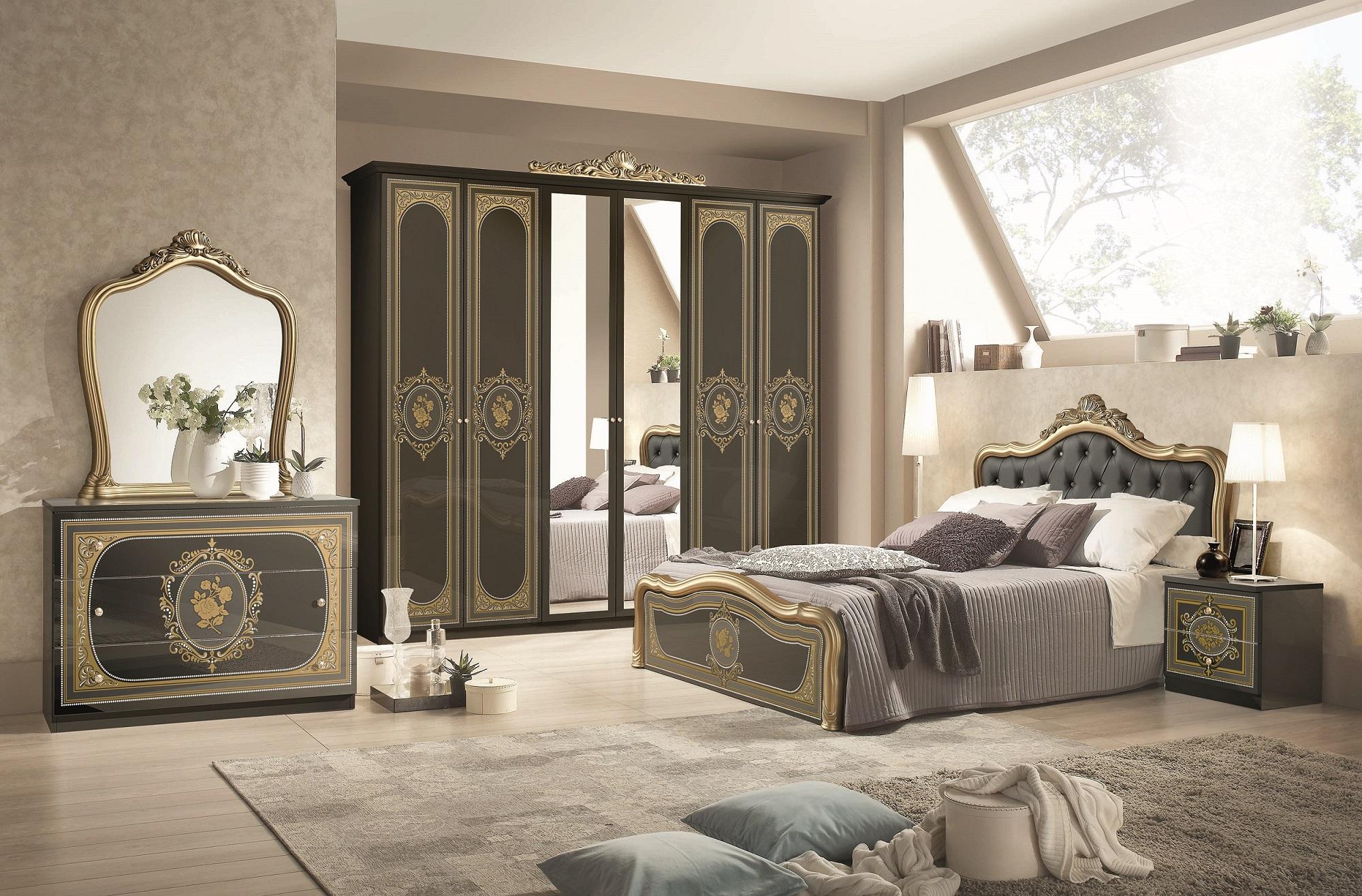 ... Schlafzimmermöbel Kleiderschrank Alice 6türig In Schwarz Silber  Schlafzimmermöbel ...