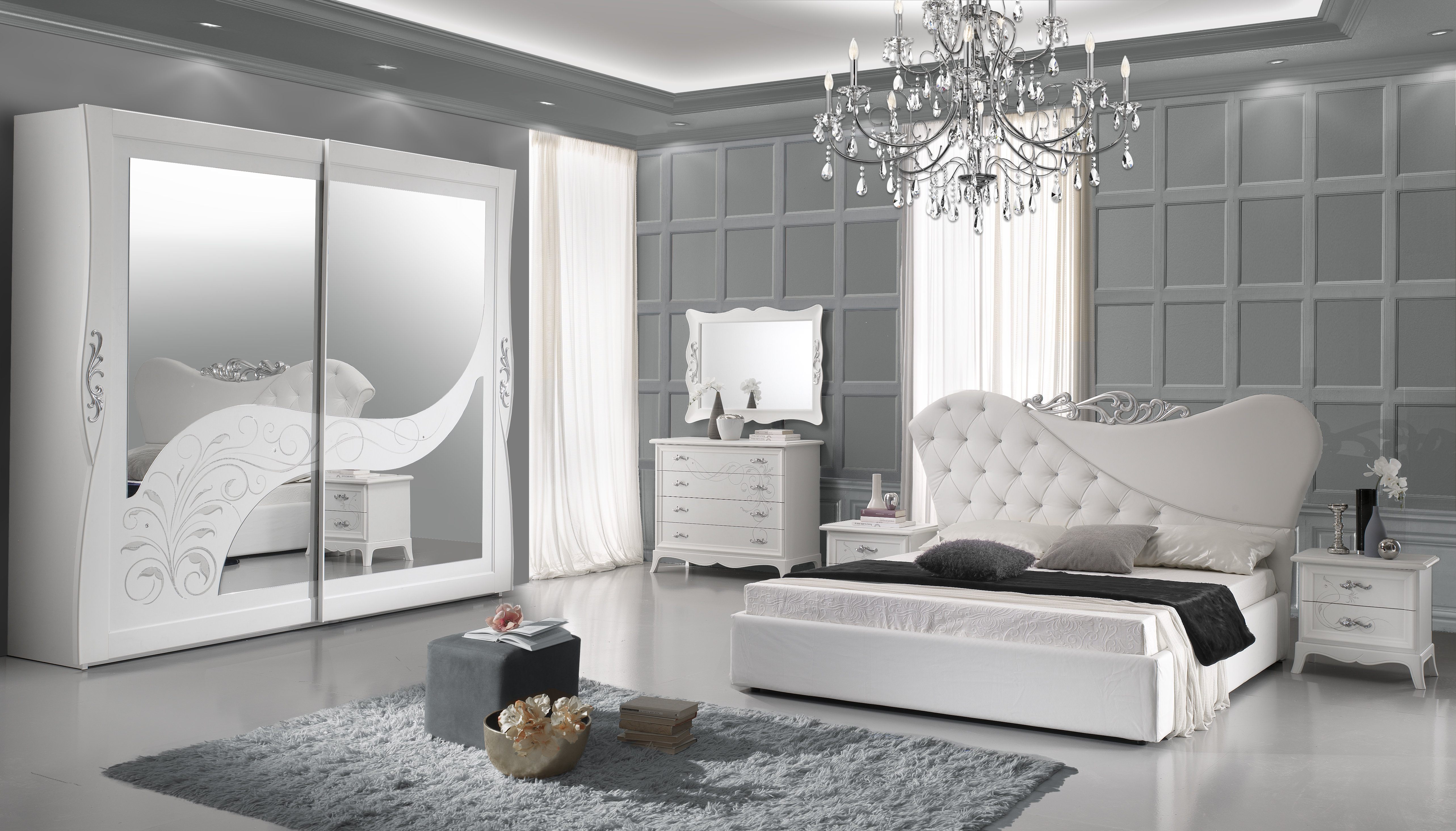 schlafzimmer gisell in weiss edel luxus schlafzimmer gisell set. Black Bedroom Furniture Sets. Home Design Ideas