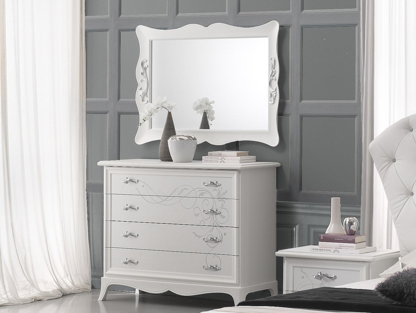 Wäschekommode mit Spiegel Gisell in weiss Schlafzimmer-Gisell-WK