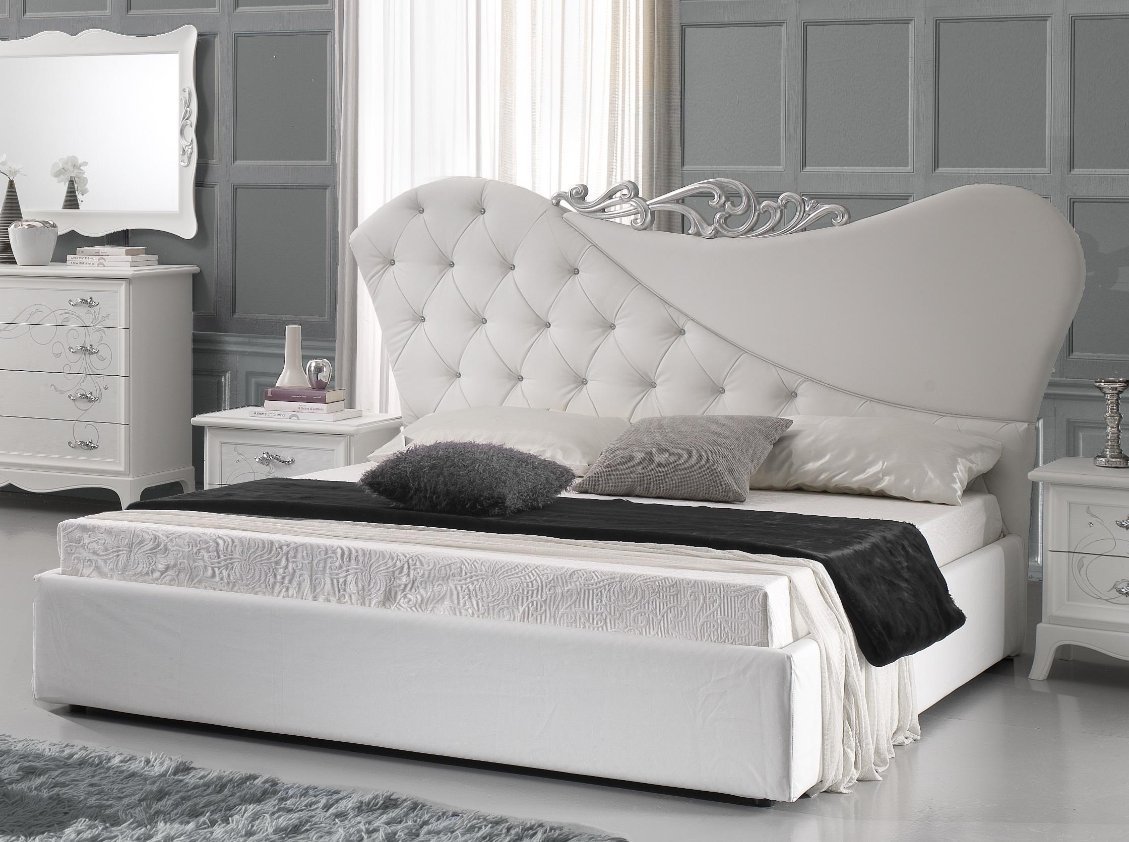 doppeltbett gisell in weiss edel luxus bett ohne lattenrost 160x200 cm gis b160 l. Black Bedroom Furniture Sets. Home Design Ideas