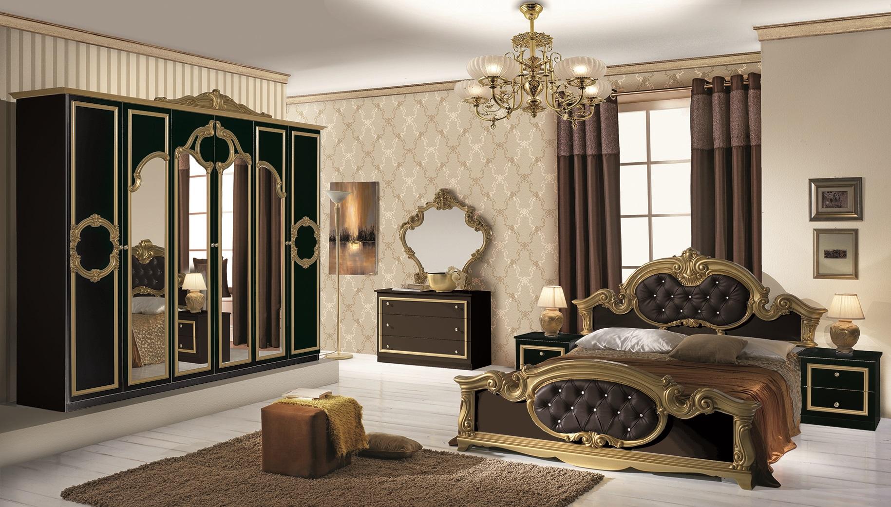 Schlafzimmer Barocco in weiss gold Klassik Barock-S-BAR-B160-6D-W