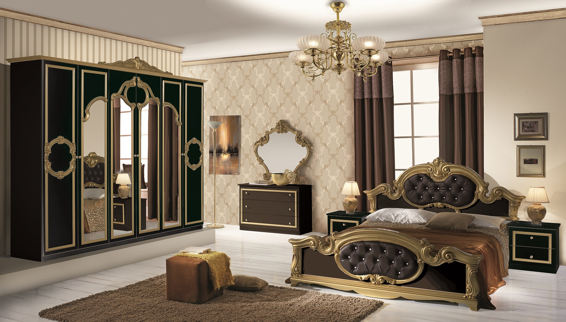 bett barocco in schwarz gold barock design 180x200 cm. Black Bedroom Furniture Sets. Home Design Ideas