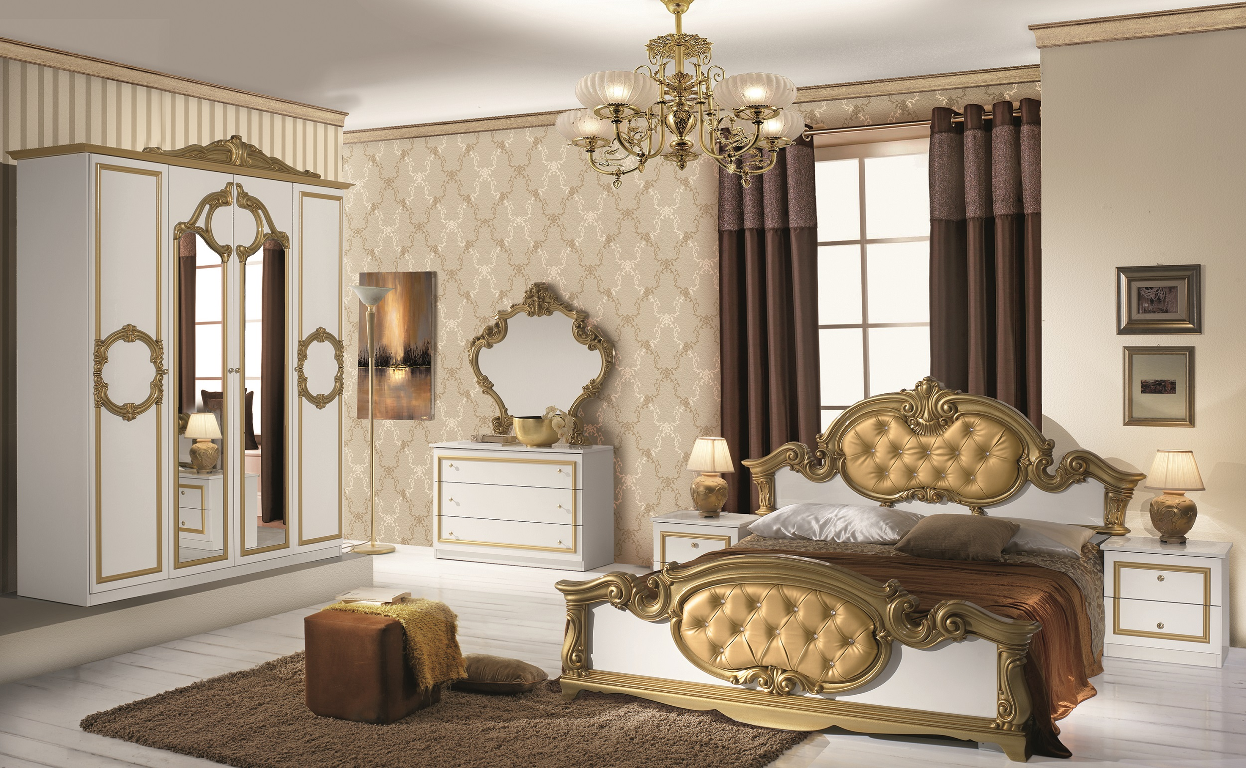 schlafzimmer barocco in weiss gold klassik 4trg s bar. Black Bedroom Furniture Sets. Home Design Ideas