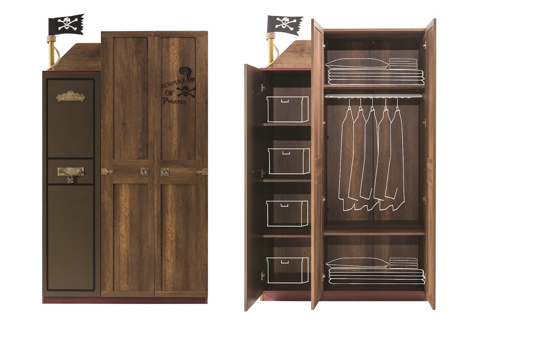 kleiderschrank 3trg korsan pirat in braun f r kinderzimmer 68403. Black Bedroom Furniture Sets. Home Design Ideas