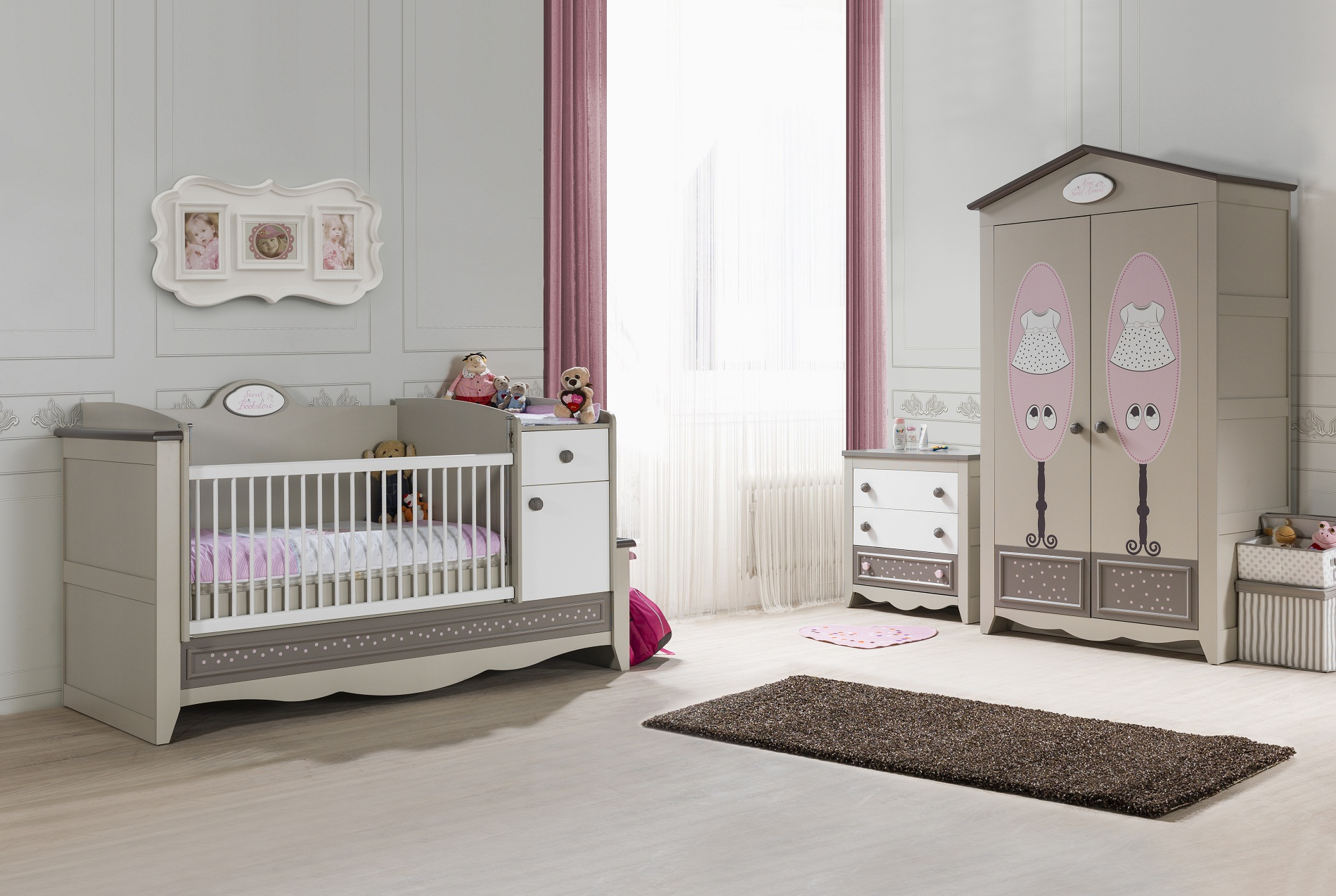 kinderzimmer houses 4 tlg braun weiss boutique schrank 2 trg dac 73004 2 6 8. Black Bedroom Furniture Sets. Home Design Ideas