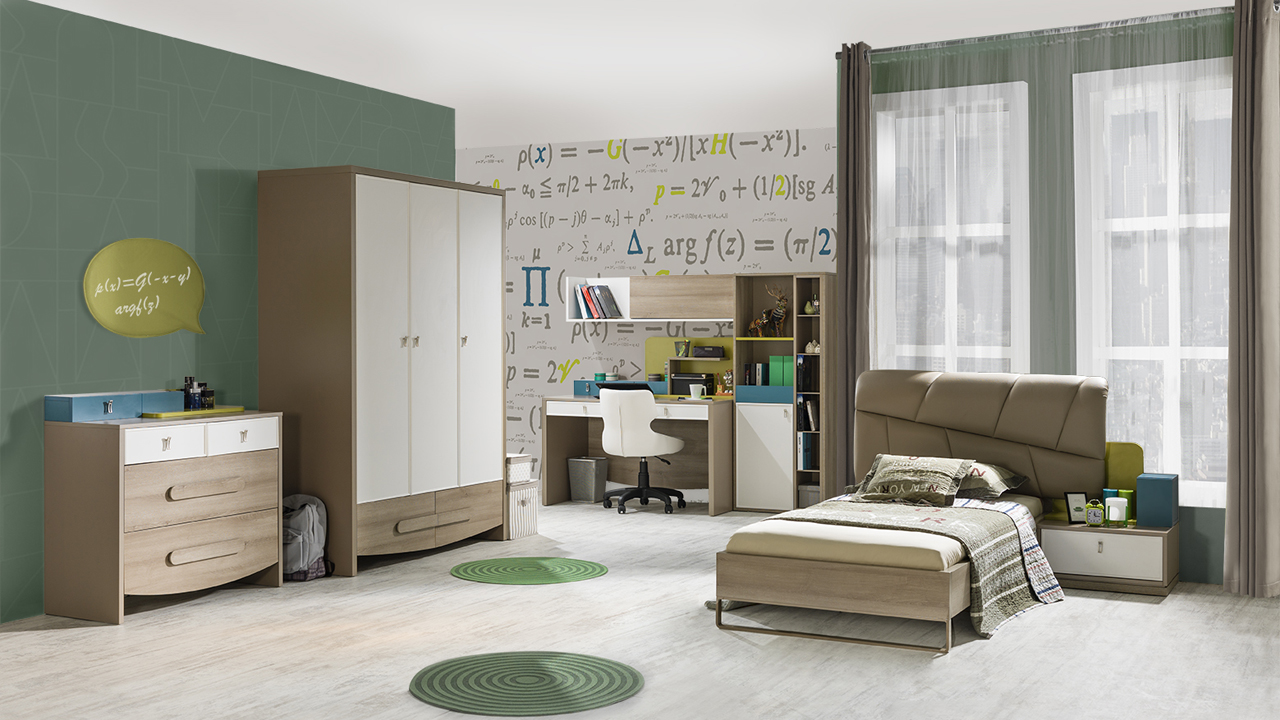 jugendzimmer green 90x200 cm bett schrank modern braun beige s 76004. Black Bedroom Furniture Sets. Home Design Ideas
