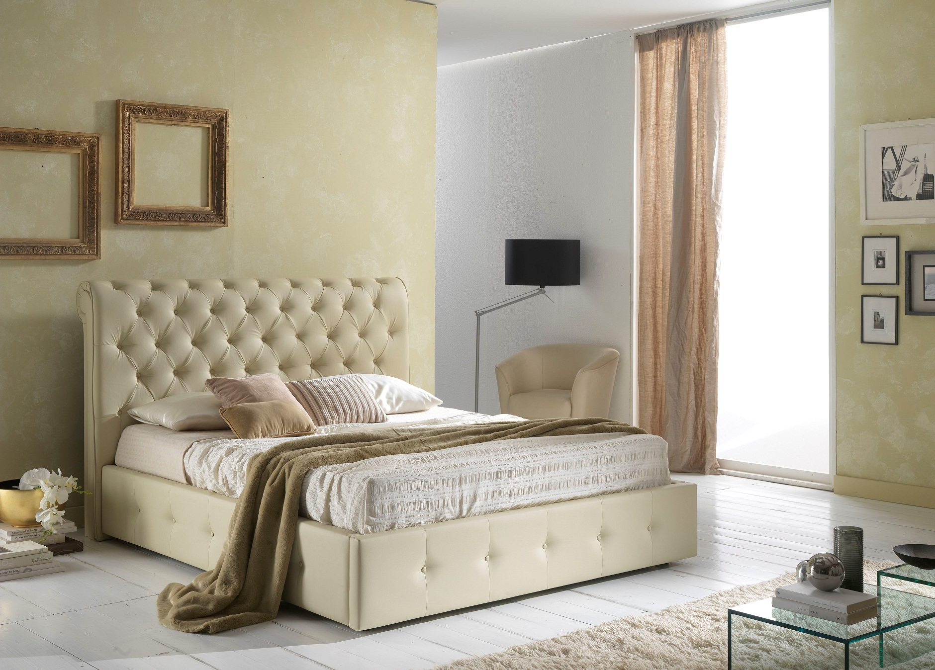 bett peninsula 160x200 cm mit stauraum polster beige creme pen 160 s. Black Bedroom Furniture Sets. Home Design Ideas