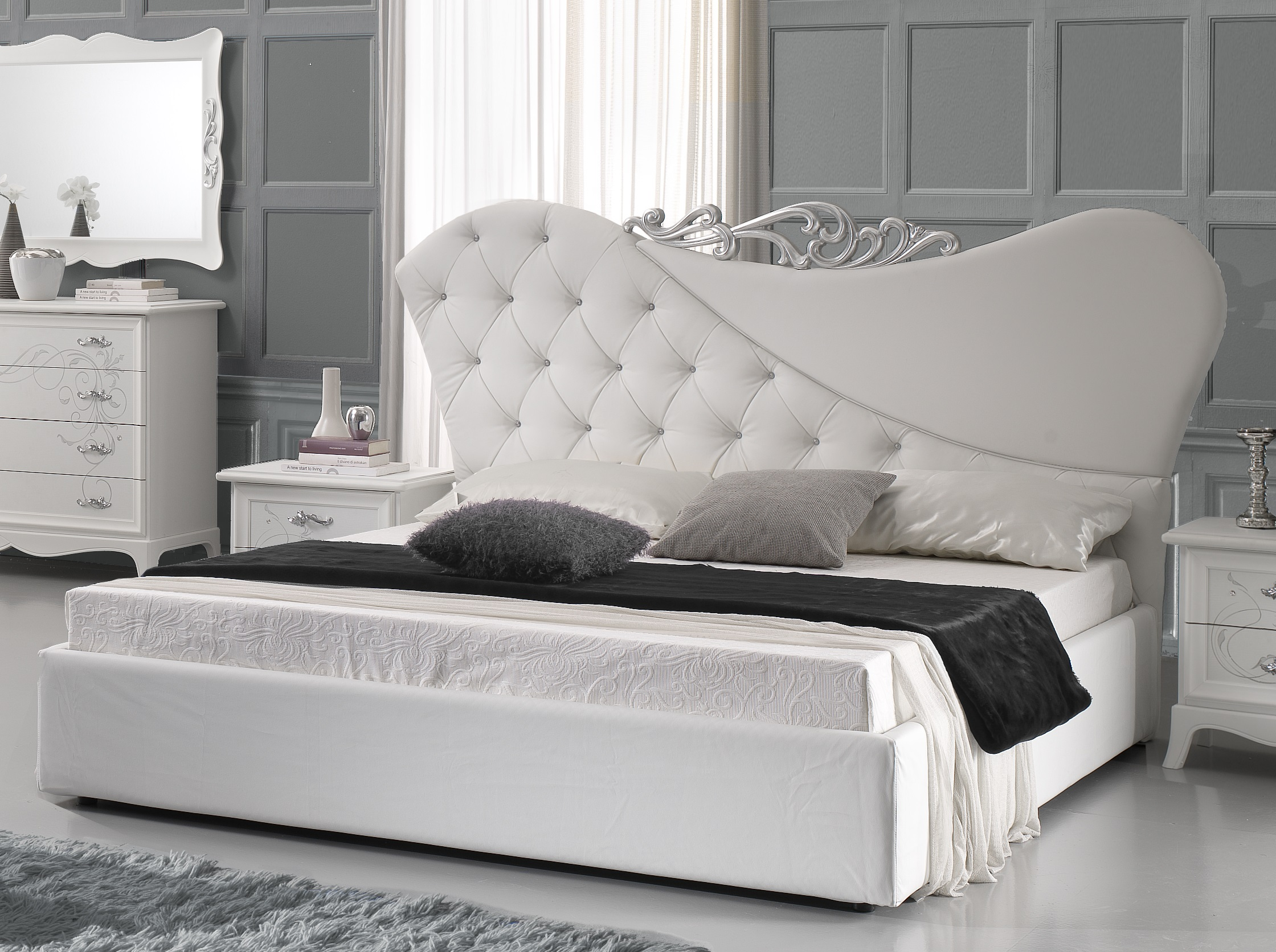 bett 180x200cm gisell in weiss edel luxus schlafzimmer gis b180. Black Bedroom Furniture Sets. Home Design Ideas