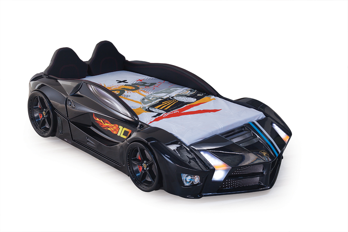 Autobett Turbo Racer schwarz mit LED und Polster Kinderbett-Rac-schwarz