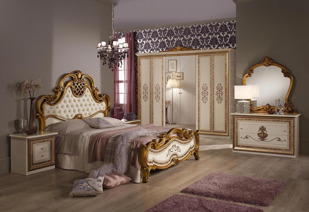 Schlafzimmer Anja beige Italien König Barock Bett 180 King Kls 4-DH ...