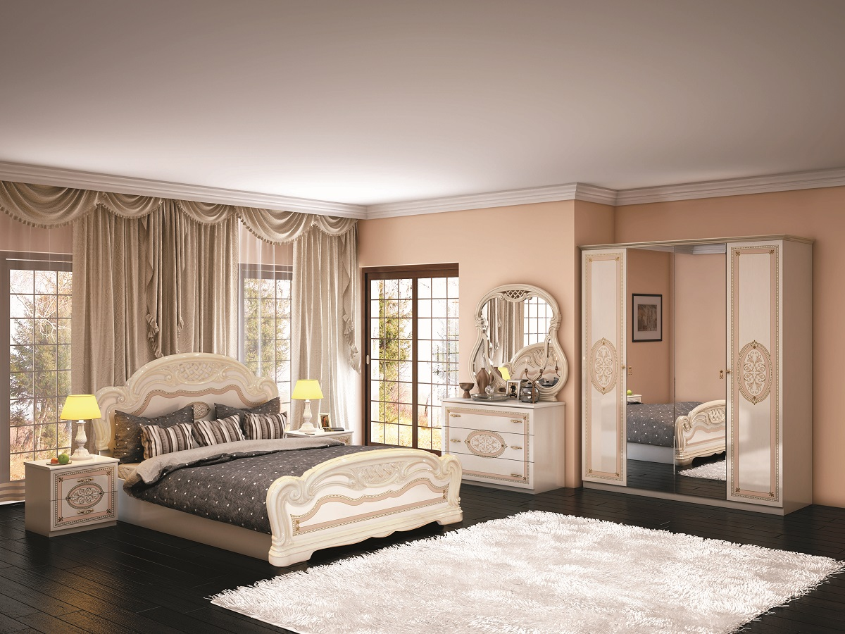 schlafzimmer lana beige klassischer stil bett 160x200 4tlg id set la 6 1. Black Bedroom Furniture Sets. Home Design Ideas