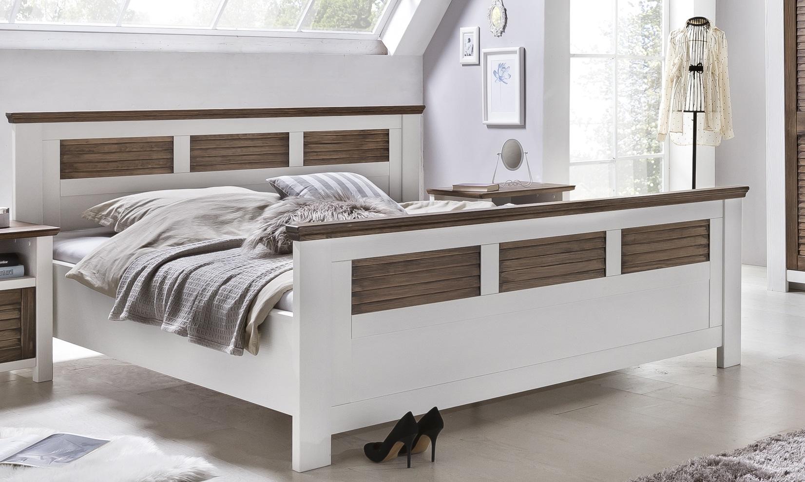 Schlafzimmer Laguna Pinie teilmassiv weiß Abs. 160x200 cm-Type 44/52 ...