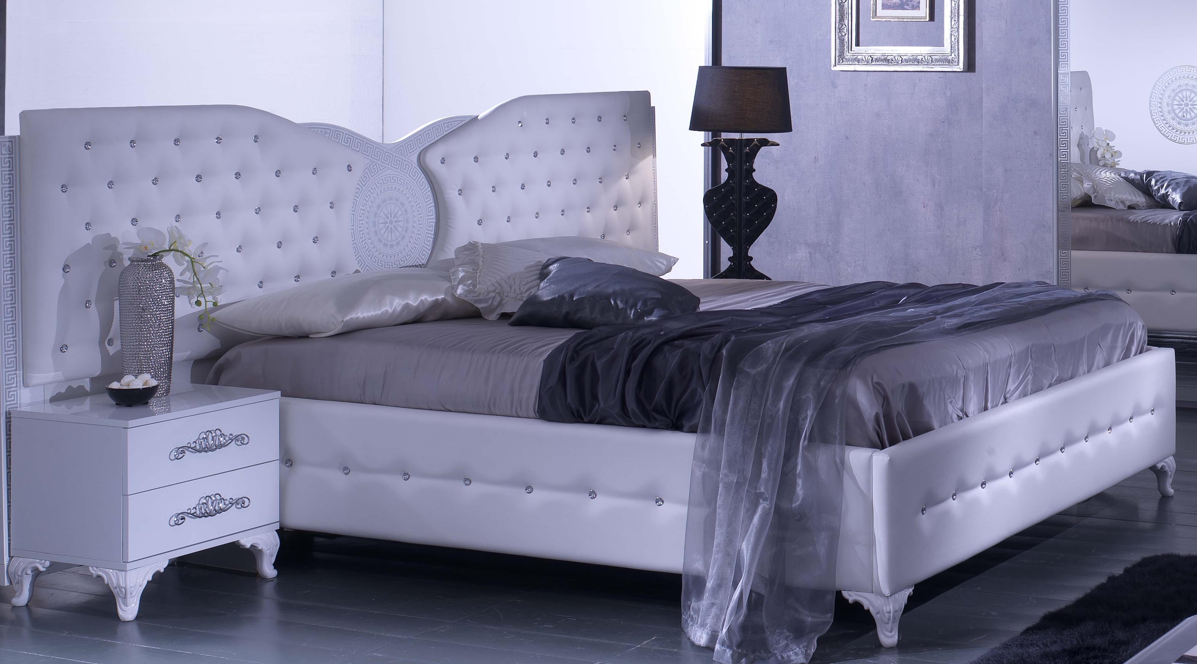 Bett 160x200 Cm Anatalia In Weiss Silber Modern Ebay