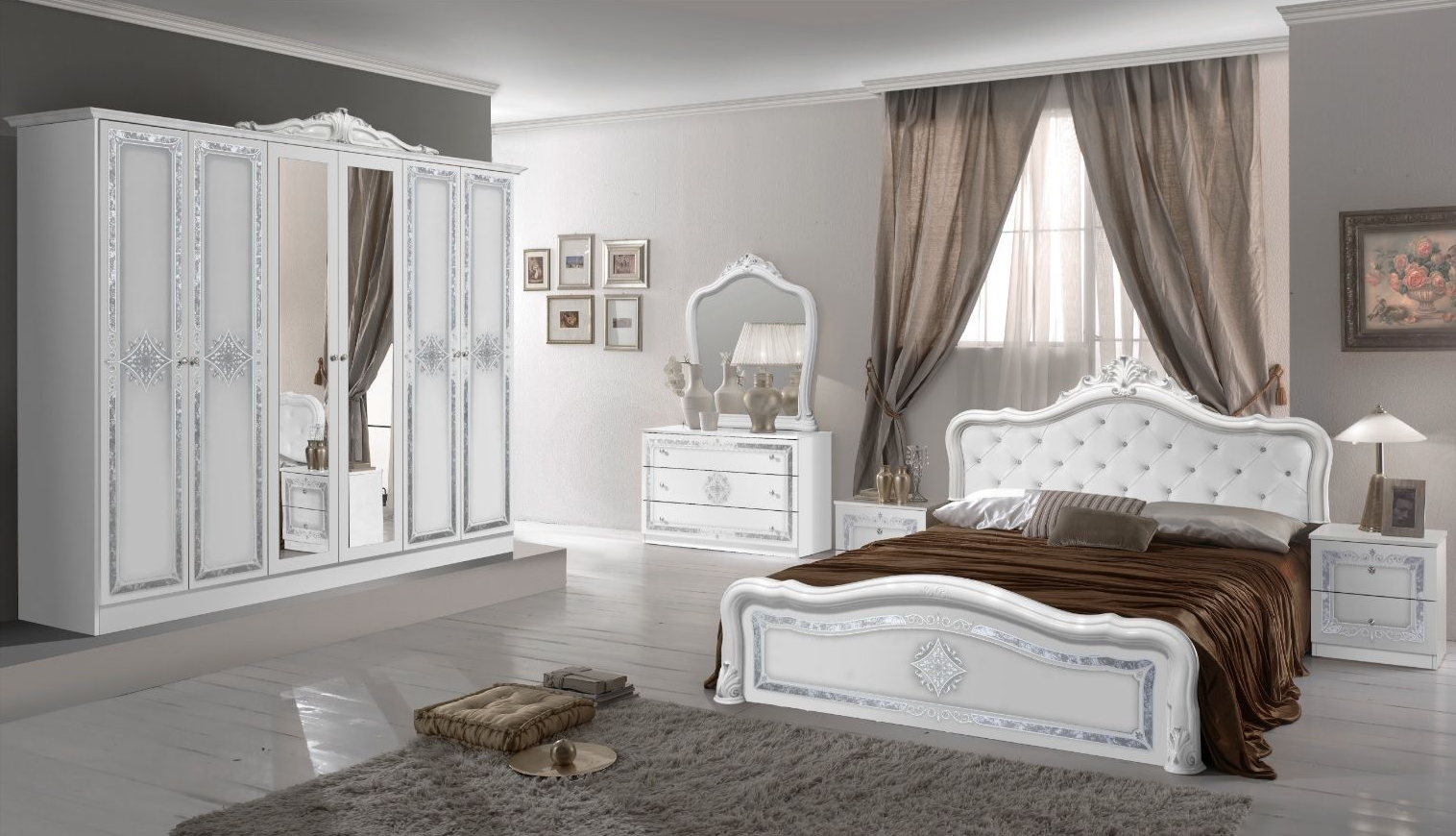 bett lucy 180x200 cm in weiss k niglich polsterung im kopfteil le lu tap nec rb 180white. Black Bedroom Furniture Sets. Home Design Ideas