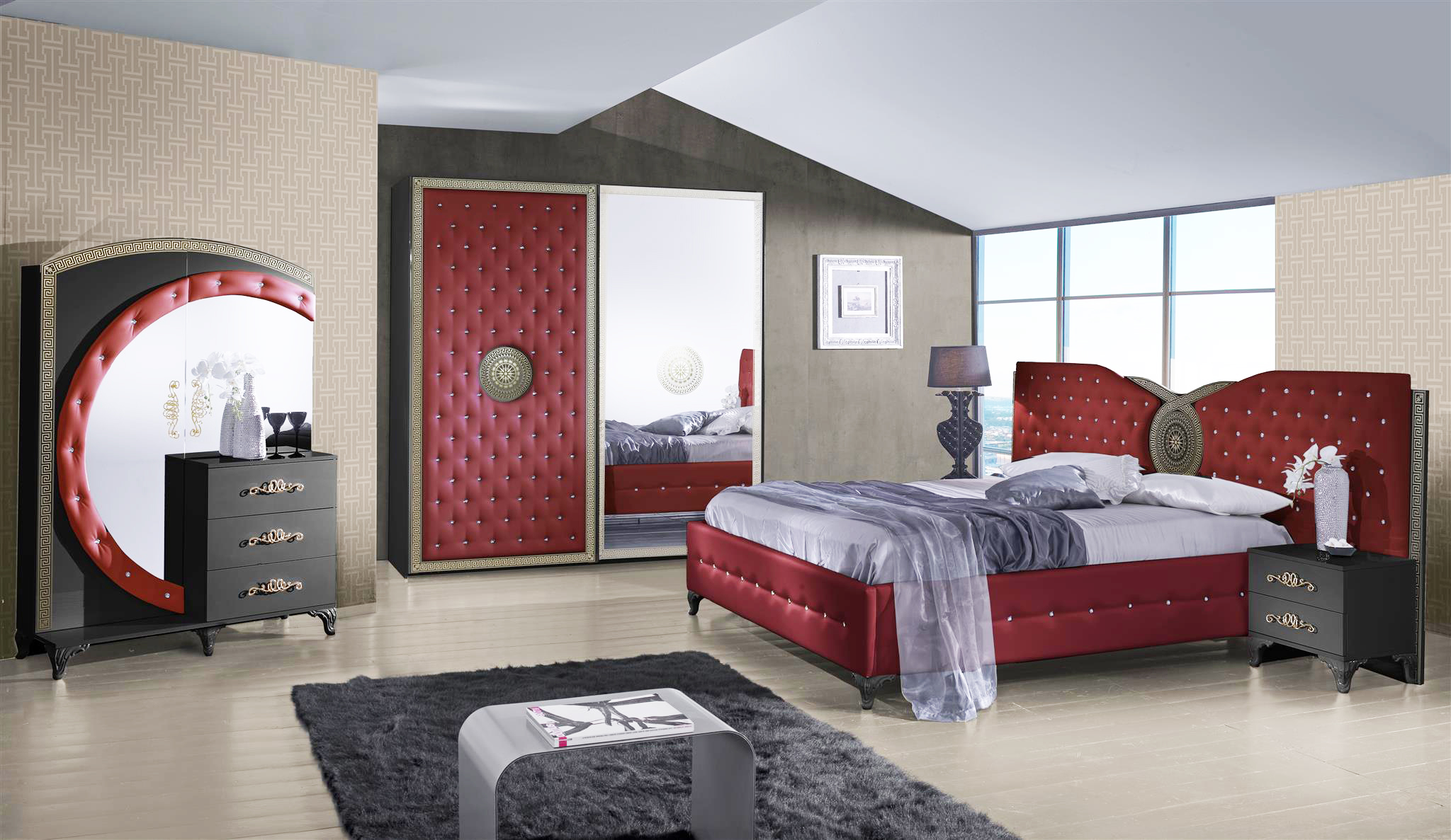 bett anatalia in rot schwarz luxus design 180x200 cm mit. Black Bedroom Furniture Sets. Home Design Ideas