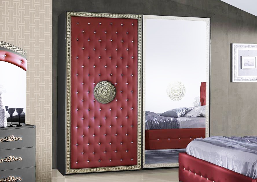 Bett Anatalia In Rot Schwarz Luxus Design 180x200 Cm Mit