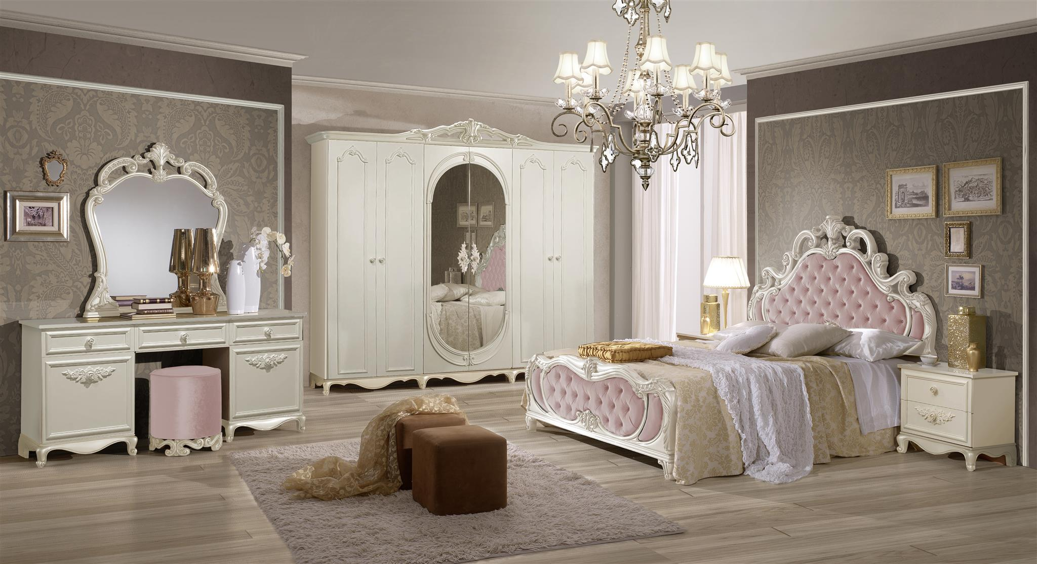 Schlafzimmer Set Atene in Creme/Weiss Rosa 180x200 cm / mit Schrank ...