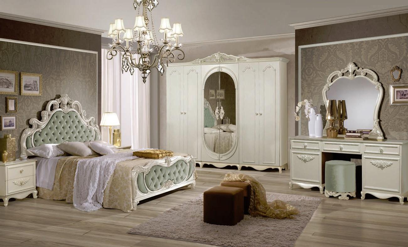 schlafzimmer set atene in creme weiss rosa 180x200 cm mit schrank 4 t rig ohne lattenrost. Black Bedroom Furniture Sets. Home Design Ideas