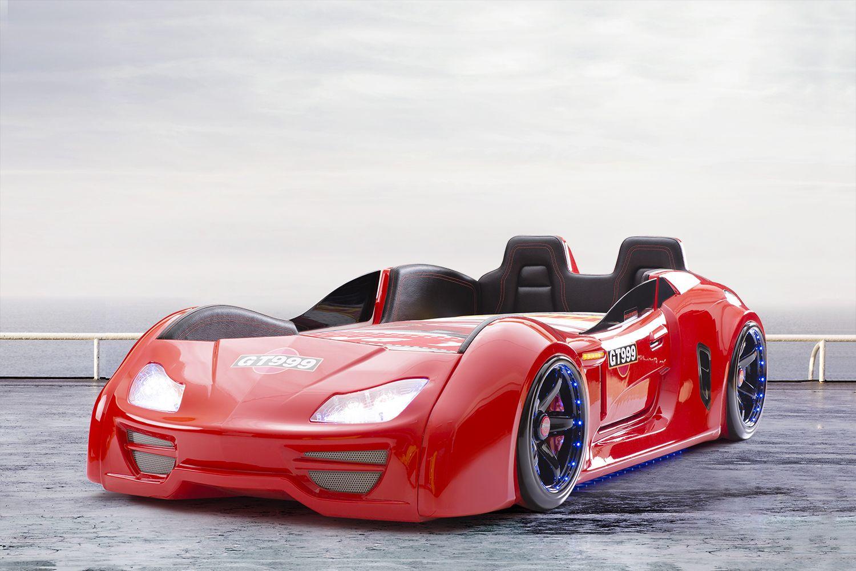 Autobett Turbo GT Extra in Rot mit Türen, Rückenlehne, Polsterung ...