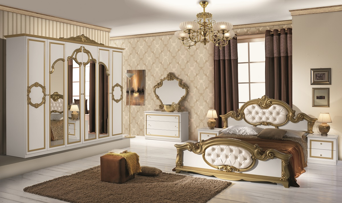 bett 180x200 barocco in wei gold klassik barock bar b180 wg. Black Bedroom Furniture Sets. Home Design Ideas