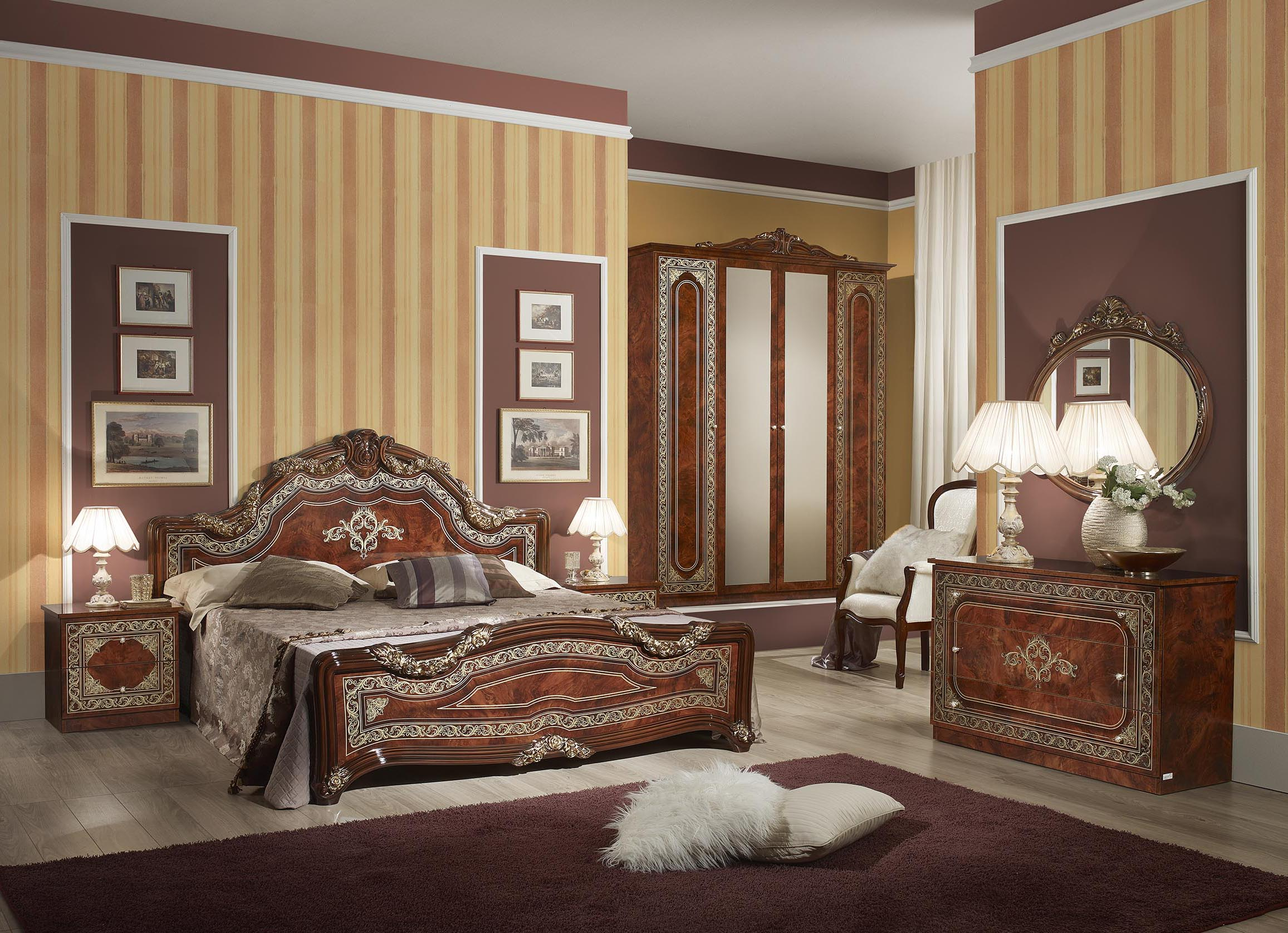bett elena in walnuss klassisch design 180x200 cm mit. Black Bedroom Furniture Sets. Home Design Ideas