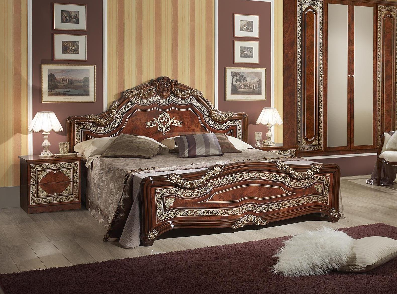 Schlafzimmer Set Elena in Walnuss Klassisch Design 180x200 cm / mit Schrank  4 türig / ohne Kommode und Spiegel / ohne Lattenrost