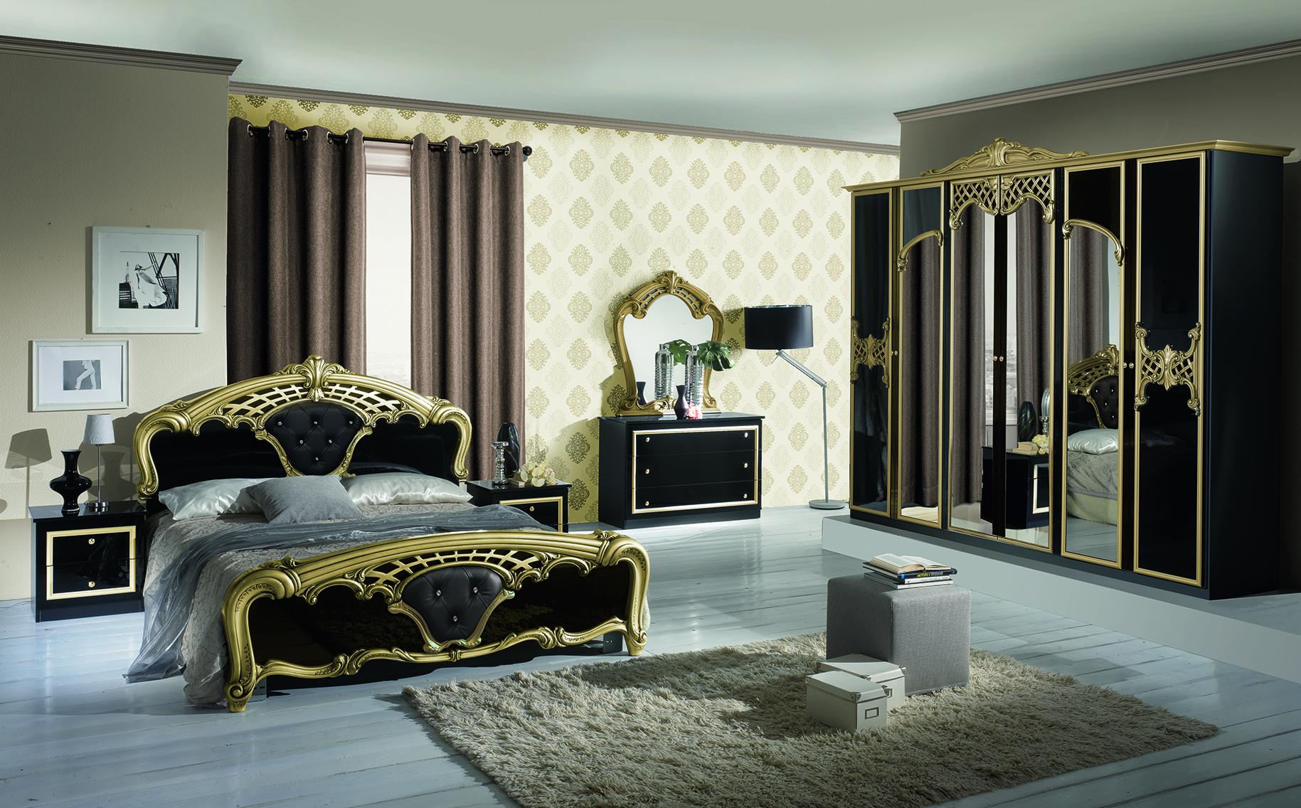 Schlafzimmer Set Elisa Weiss Gold 7-teilig 180x200 cm / mit Schrank ...